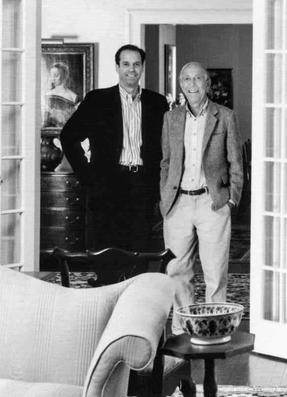 John with friend and dealer Peter Tillou in 2003                               at Peter's home in Litchfield, Connecticut.