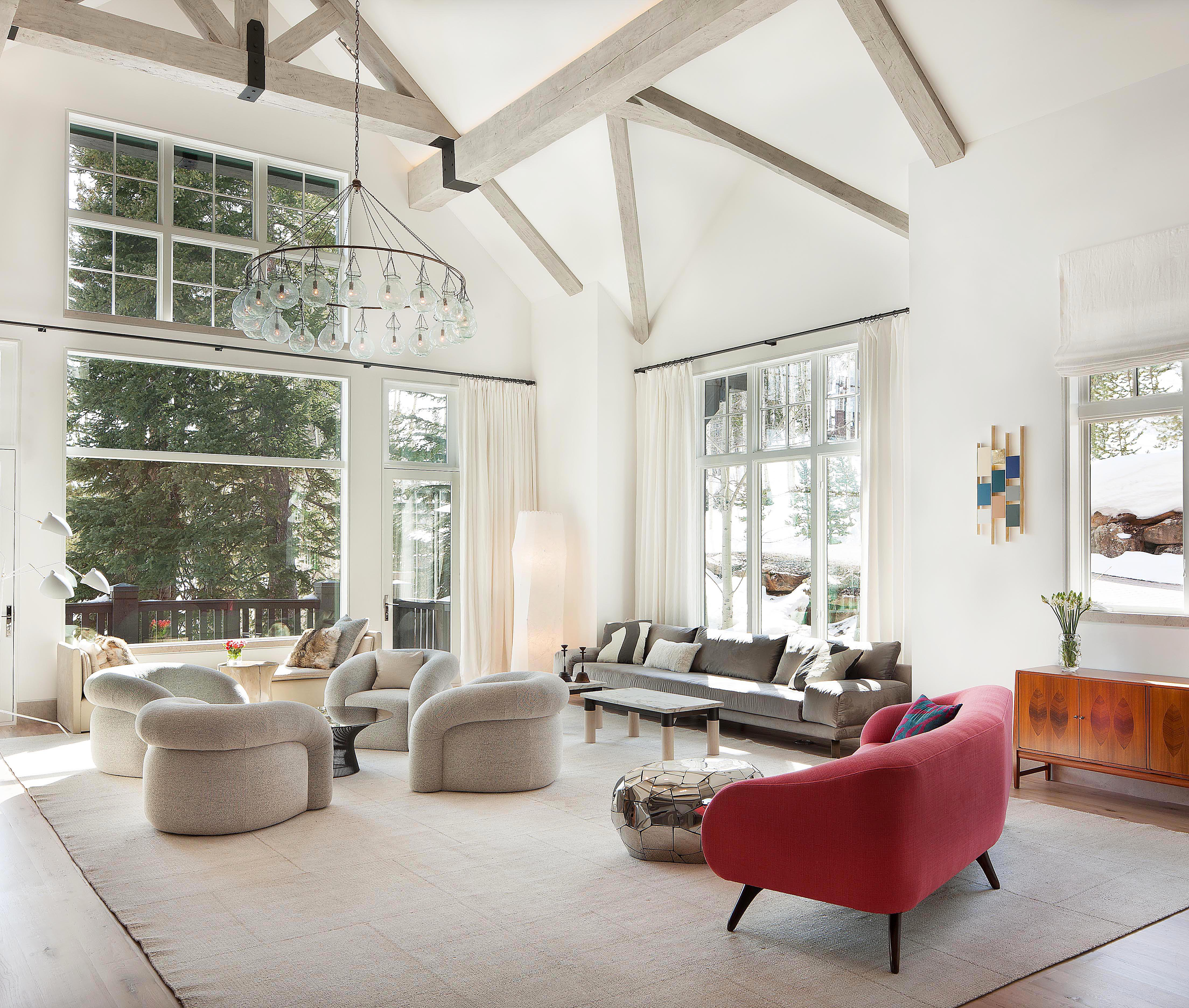 Beaver creek getaway a colorado lodge with mountain views and tons of natural light was transformed by tori from a dark traditional lodge decor scheme to