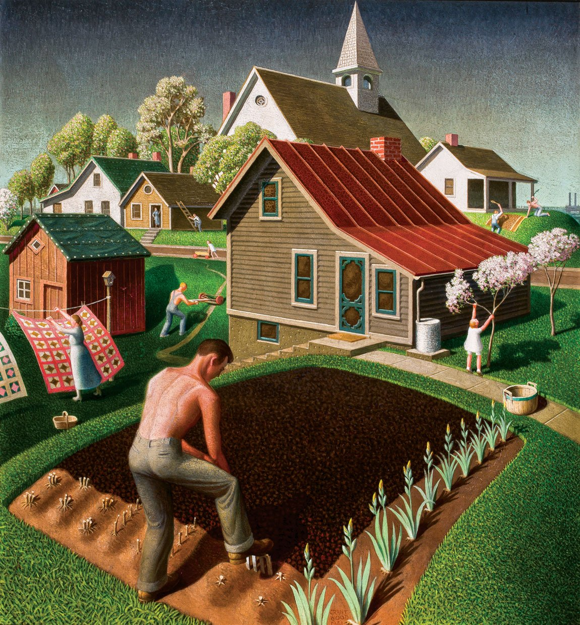 Grant Wood American Gothic And Other Fables By Incollect