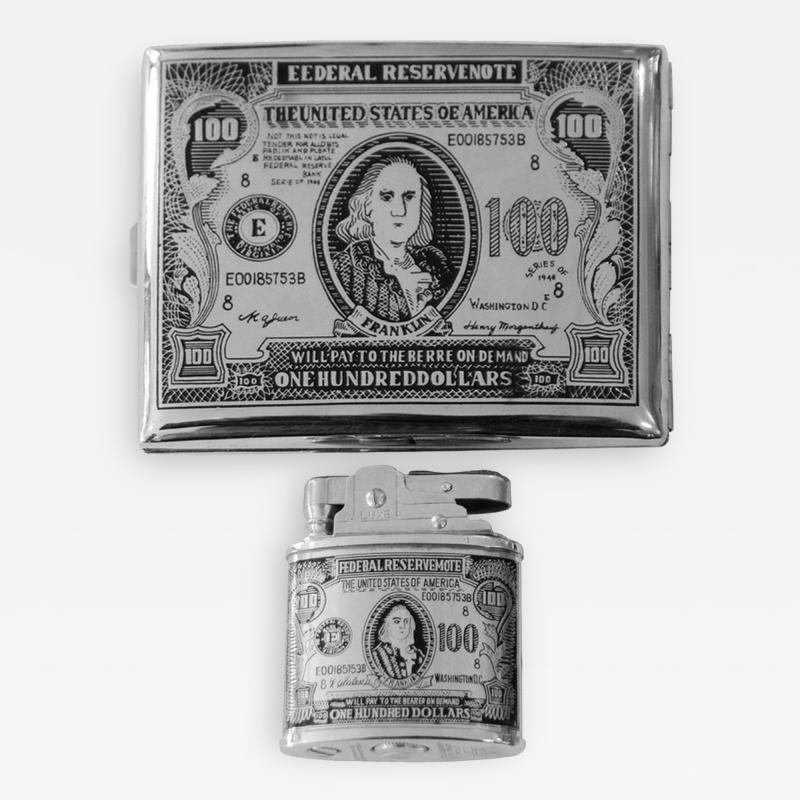 100 Bill Cigarette Case and Matching Cigarette Lighter