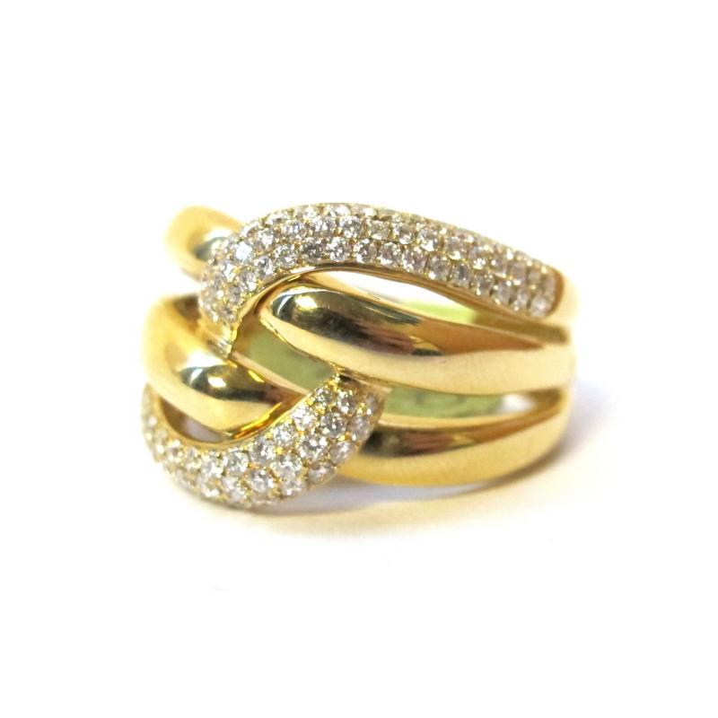 63 Carat Pave Diamond Knot Ring 18k Yellow Gold