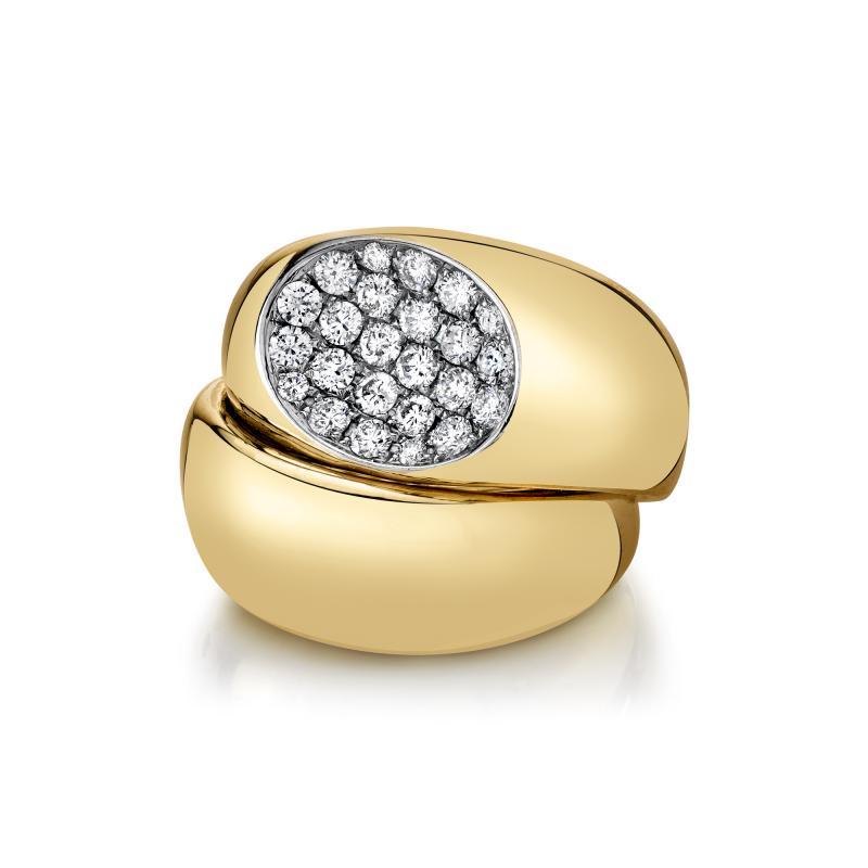 79 Carat Diamond 18k Yellow Gold Dome Ring
