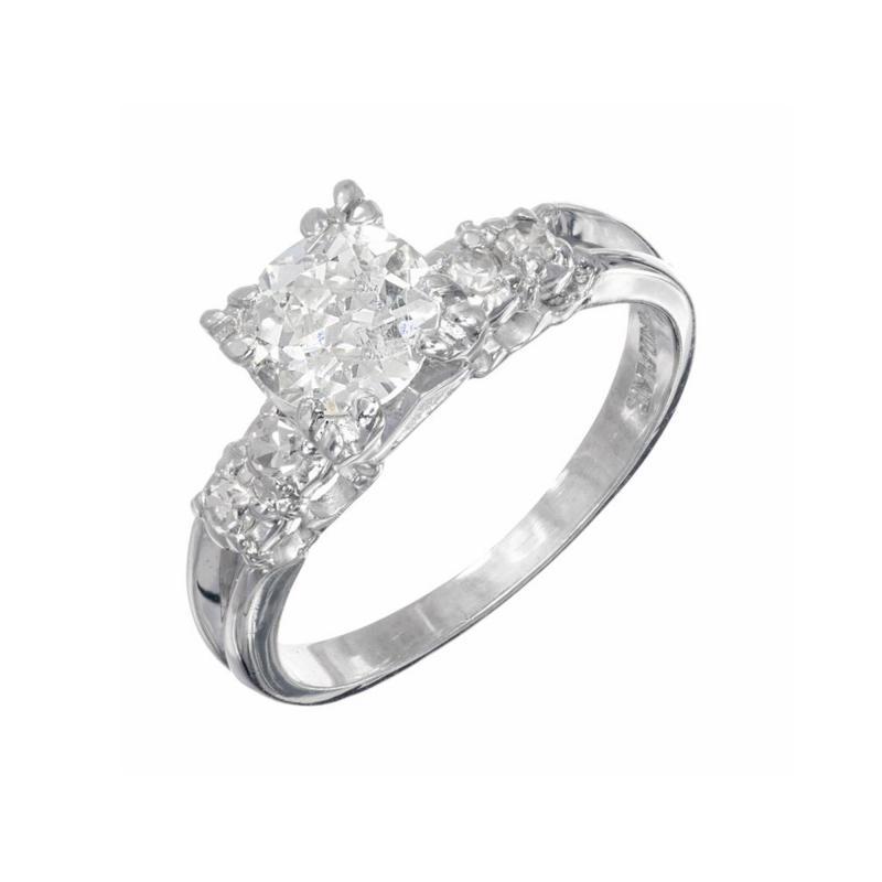 90 Carat Diamond Old European Cut Platinum Engagement Ring