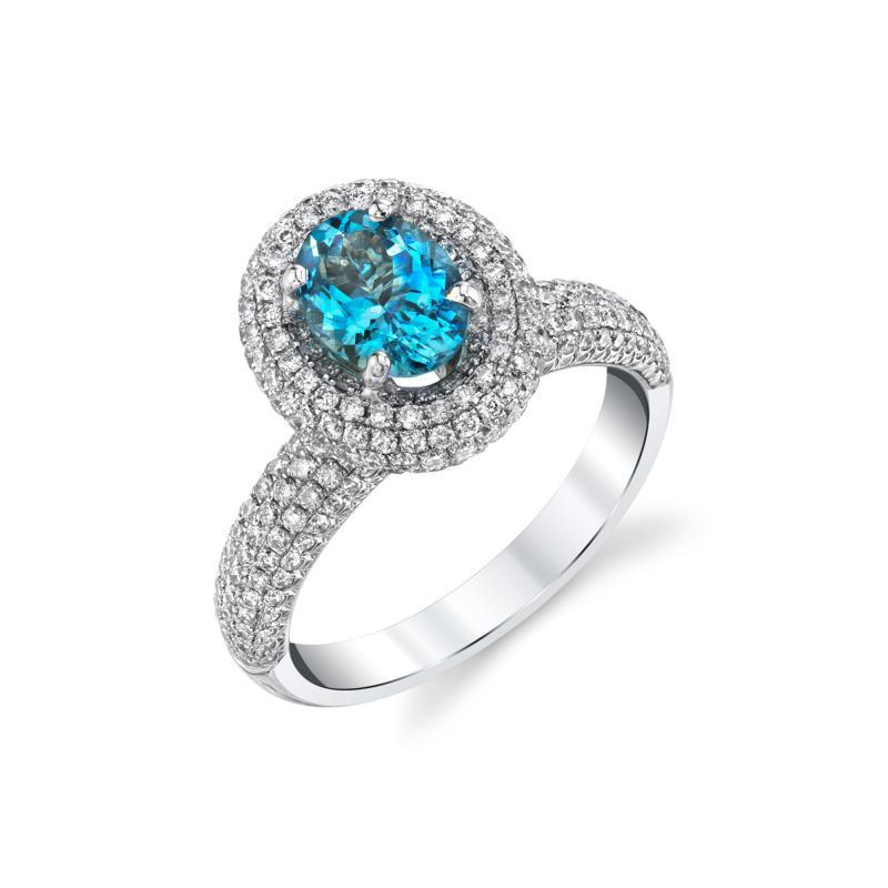 99 Carat Aquamarine and 1 27 Carats Diamond 18k White Gold Halo Ring