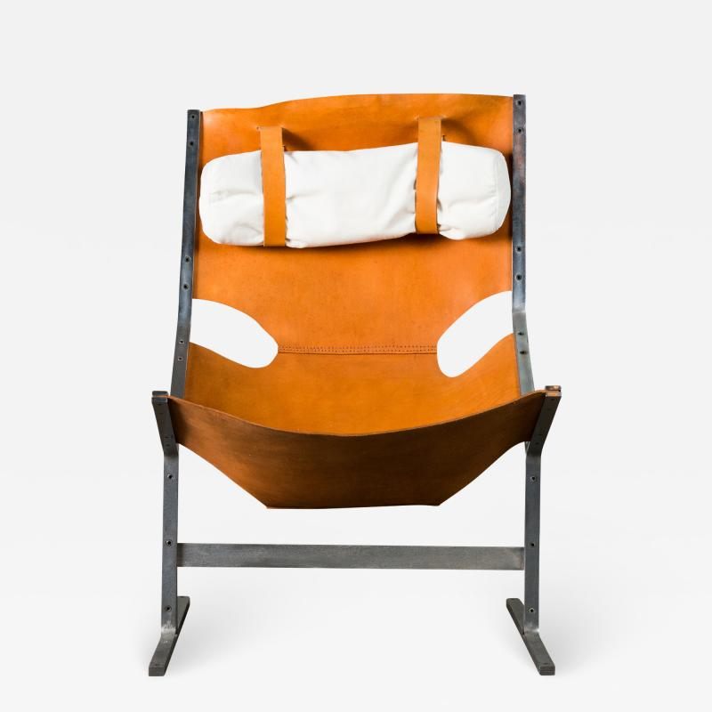 A Polak Leather Sling Lounge Chair by A Polak
