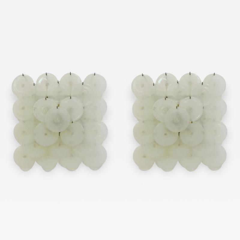 A V Mazzega Carlo Nason Pair of Iridescent Murano Glass Sconces for Mazzega Italy 1960s