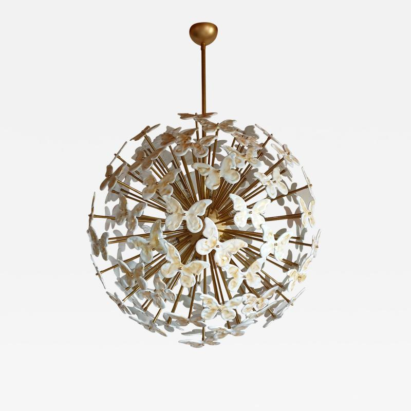 A V Mazzega Mid Century Modern Murano butterfly sputnik chandelier colored through light