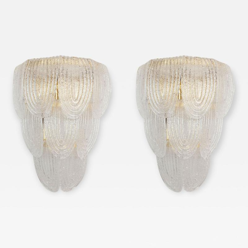 A V Mazzega Pair of Large Mid Century Modern Murano clear glass sconces by Mazzega Italy
