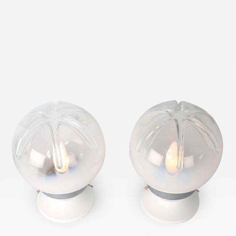 A V Mazzega Pair of Small Mazzega Glass Table Lamps circa 1970s