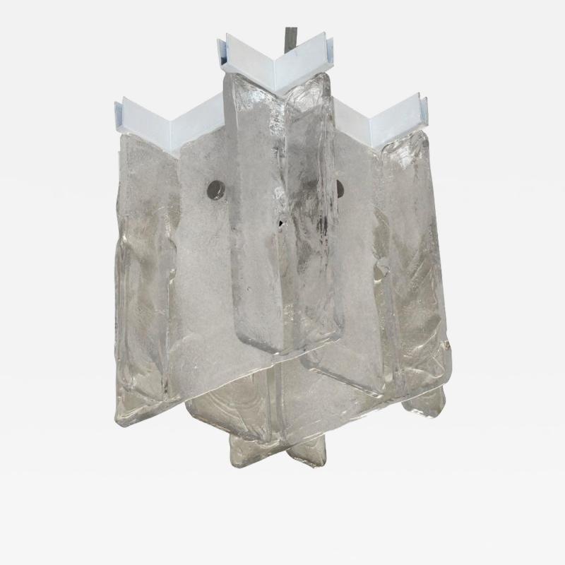 A V Mazzega Small Scale Interlocking Glass Flush Mount Pendant Light