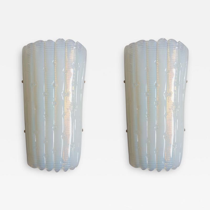 A V Mazzega Vintage Opaline Murano glass sconces Mazzega style Italy 1970s 2 pairs
