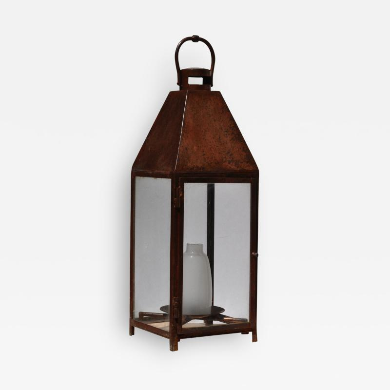 ADG Lighting Copper plated landscape lantern with frosted glass center