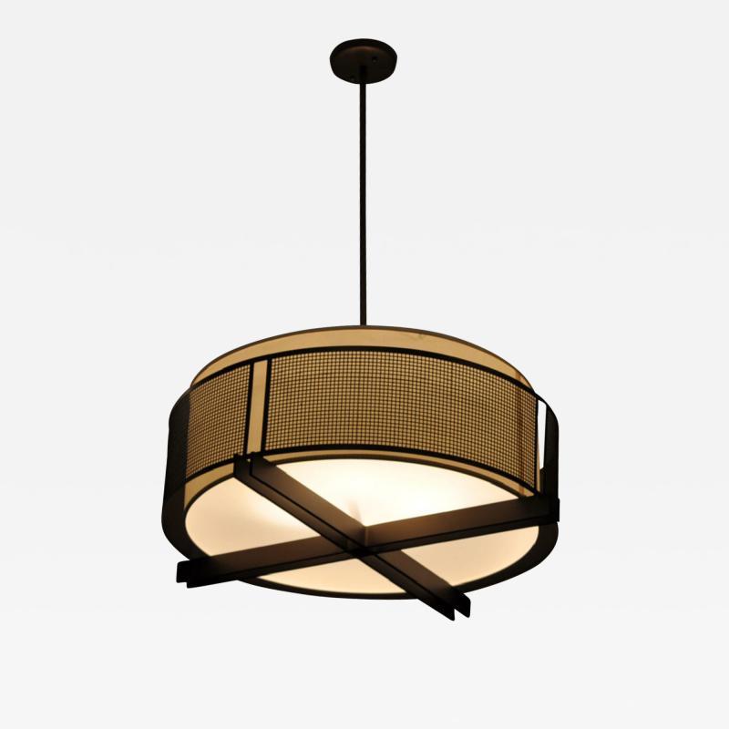 ADG Lighting Square Mesh and Fabric Hanging Pendant