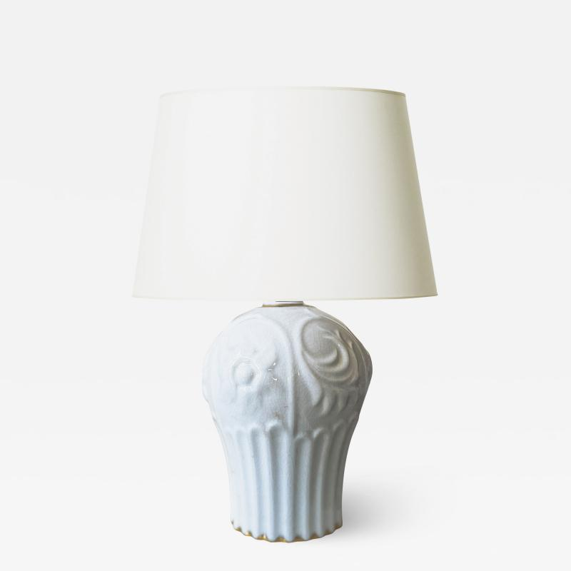 ALP Lidk ping Art Deco Table Lamp in white Craquel Glaze with Gilding by Tyra Lundgren