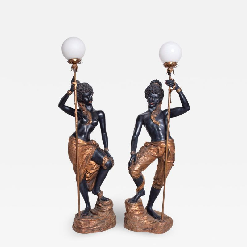 ARP Pair of Italian Torchiere Floor Lamps by ARP in Goldleaf Blackamoor