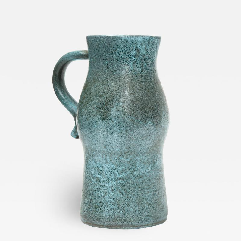Accolay Pottery Signed Accolay Blue Ceramic Milk Pitcher