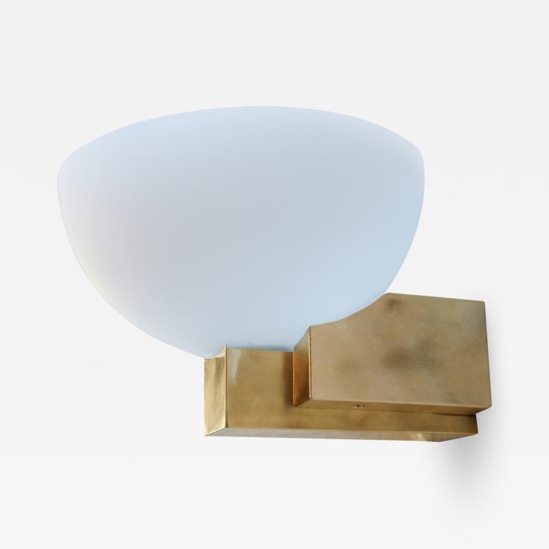 Adesso Studio Custom Art Deco Midcentury Style Brass and White Glass Sconces