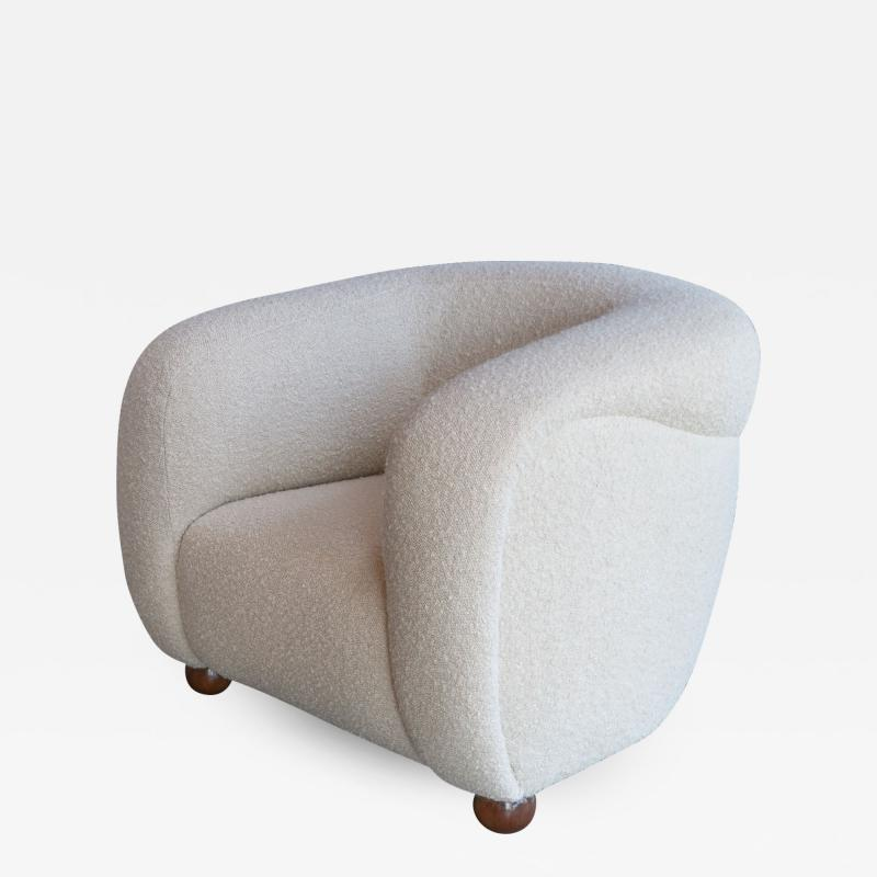 Adesso Studio Custom Barrel Lounge Chair in Ivory Boucle by Adesso Imports