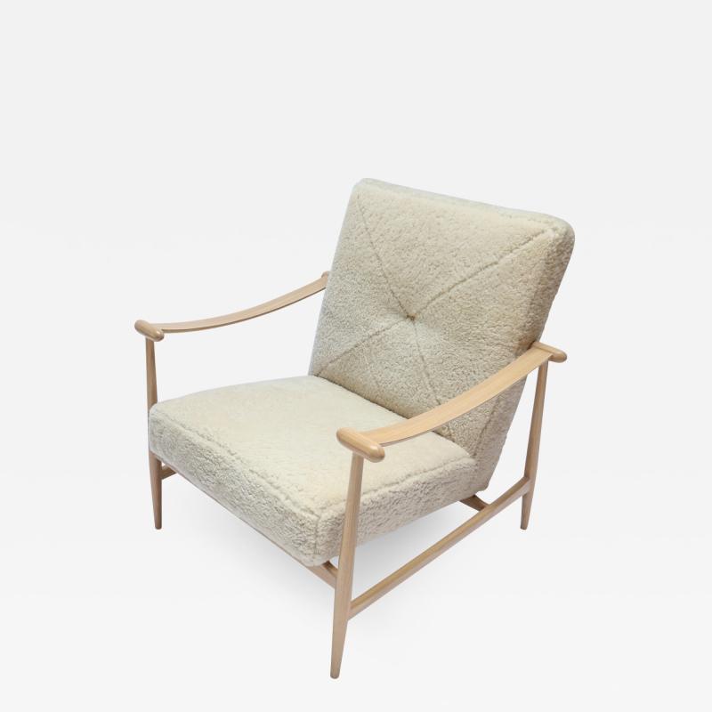 Adesso Studio Custom Beige Oak Ivory Sheepskin Mid Century Style Armchairs