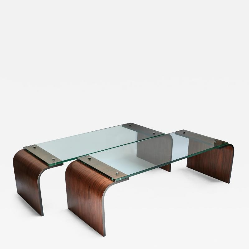 Adesso Studio Custom Rectangular Rosewood and Glass Coffee Table