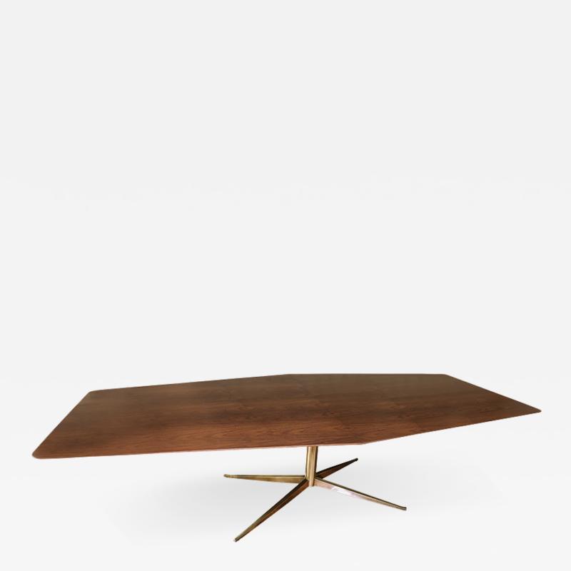 Adesso Studio Custom Walnut Pedestal Dining Table with Brass Leg