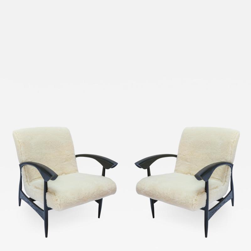 Adesso Studio Pair of Custom Black Matte Oak Armchairs in Ivory Wool