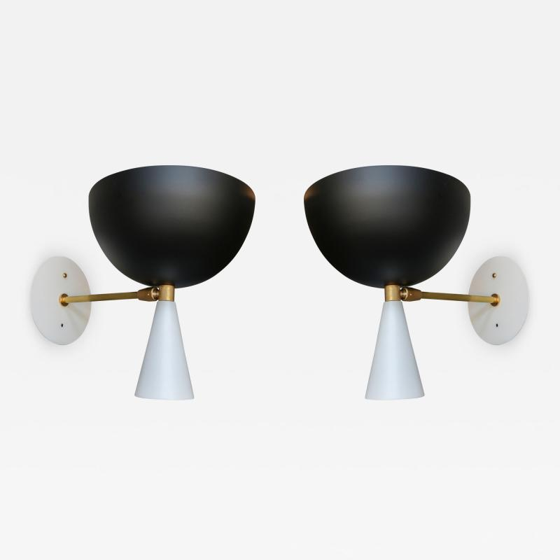 Adesso Studio Pair of Custom Brass and Black Metal Mid Century Style Sconces by Adesso Imports
