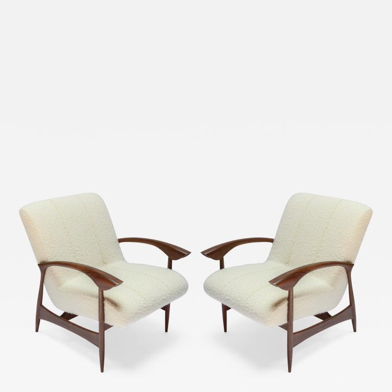Adesso Studio Pair of Custom Walnut Armchairs in Ivory Boucle