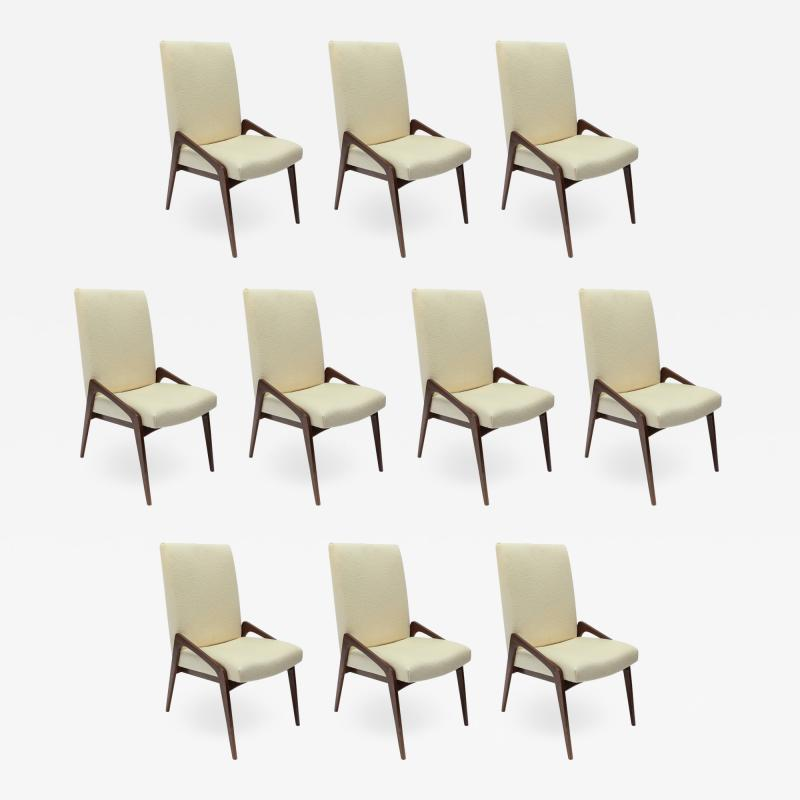 Adesso Studio Set of Ten Custom Mid Century Style Walnut Dining Chairs in Ivory Linen