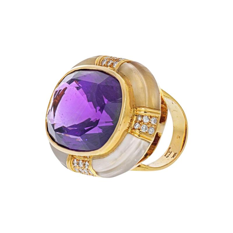 Adler 18K YELLOW GOLD LARGE OVAL AMETHYST AND ROCK CRYSTAL ESTATE DIAMOND RING