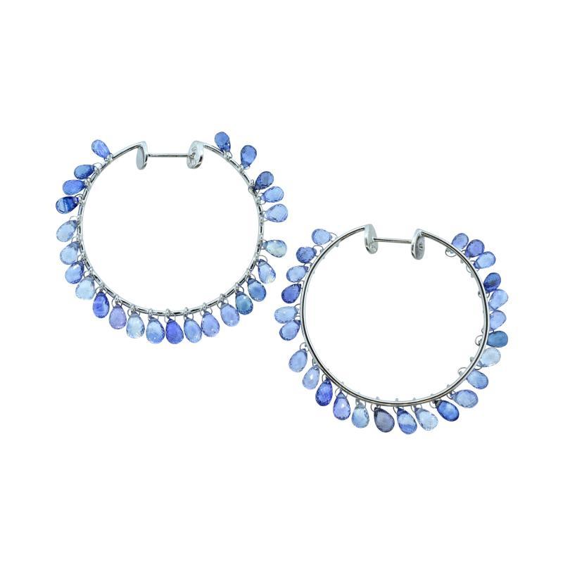 Adler Adler Sapphire and 18K hoop style earrings Geneva