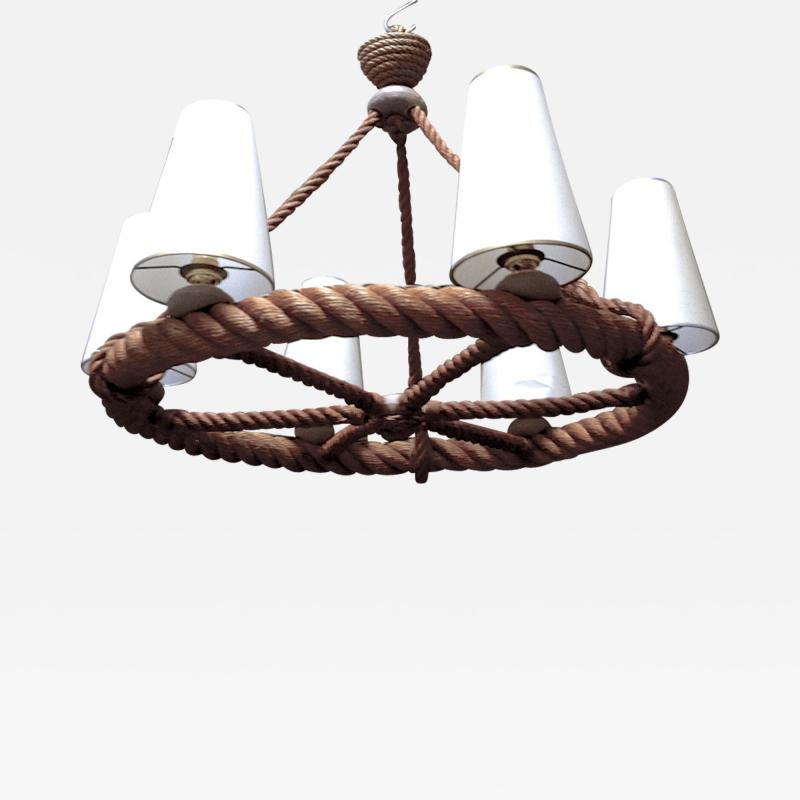 Adrien Audoux Frida Minet Audoux Minet French Riviera 6 Light Rope Chandelier in Good Vintage Condition