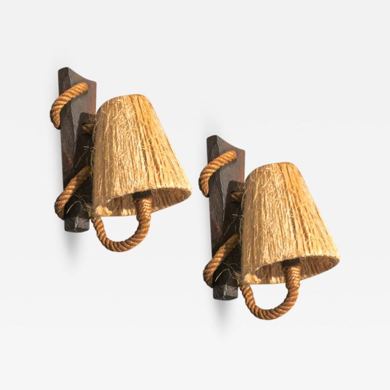 Adrien Audoux Frida Minet Audoux Minet rare pair of rope sconces rolled on a brutal oak piece