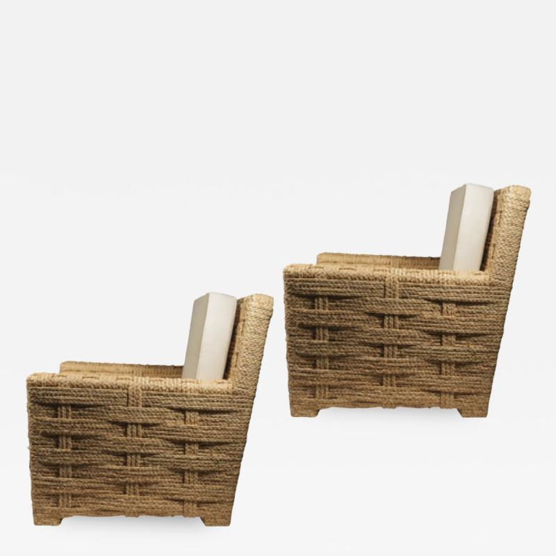 Adrien Audoux Frida Minet Audoux minet pair of woven rope lounge comfy chairs