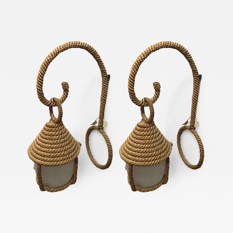 Adrien Audoux Frida Minet Audoux minet rare pair of rope lantern sconces in good vintage condition