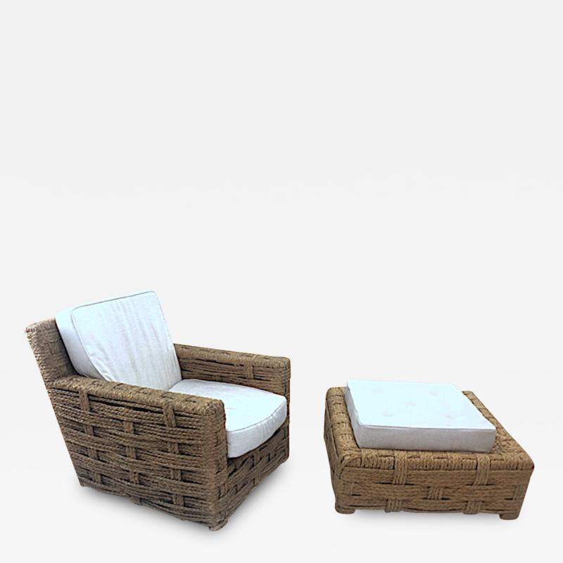 Adrien Audoux Frida Minet Audoux minet rarest lounge chair and its ottoman