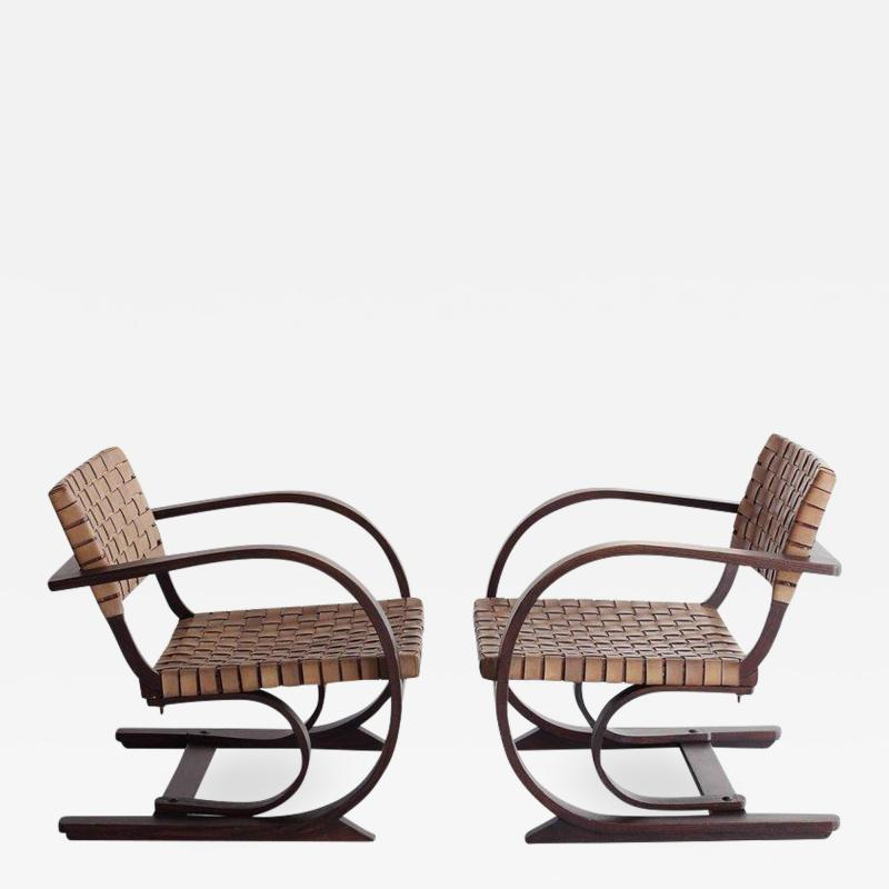 Adrien Audoux Frida Minet French Art Deco Leather Chairs in the style of Audoux Minet
