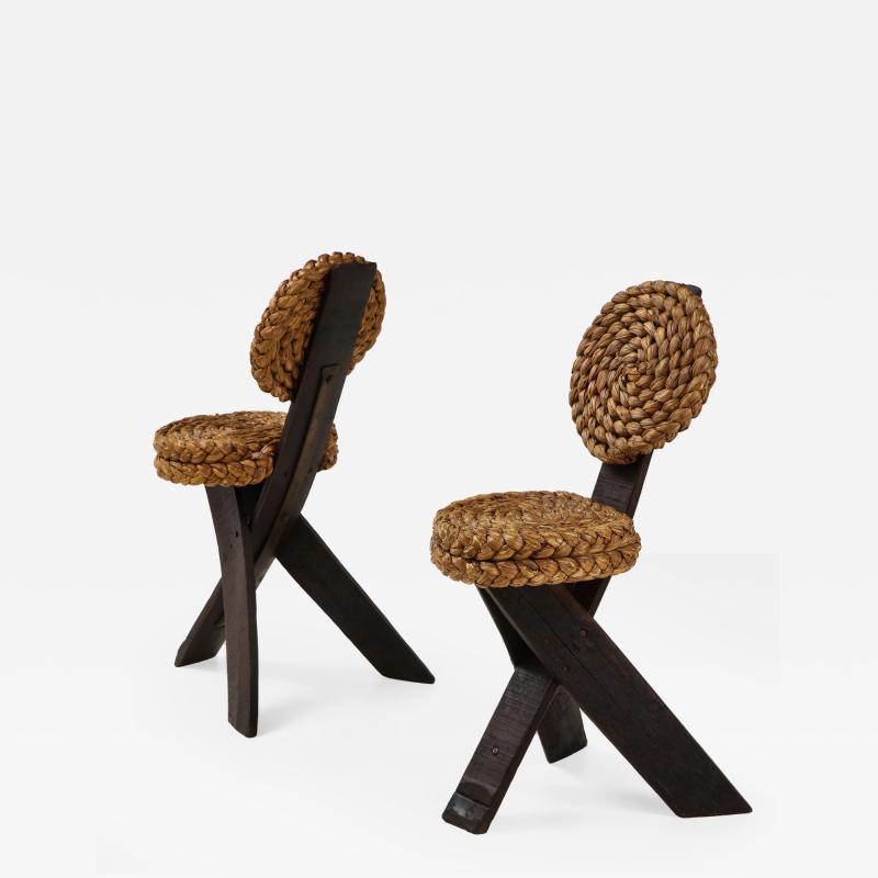 Adrien Audoux Frida Minet Pair of Rope and Wood Chairs