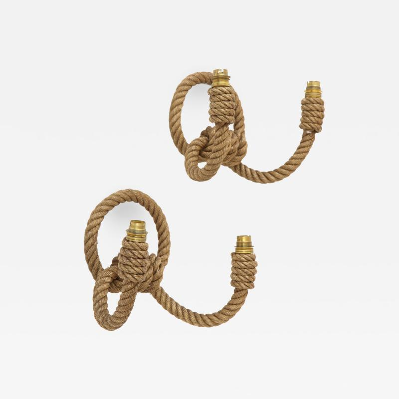 Adrien Audoux Frida Minet Pair of rope double arms sconces by Audoux Minet France 1960s