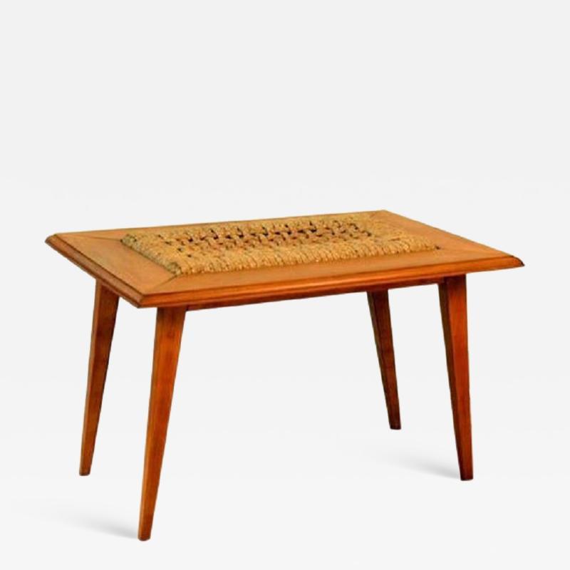 Adrien Audoux Frida Minet Rare Oak and Rope Side Table by Adrien Audoux and Frida Minet