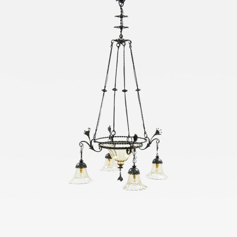 Alessandro Mazzucotelli Alessandro Mazzucotelli Wrought Iron Chandelier