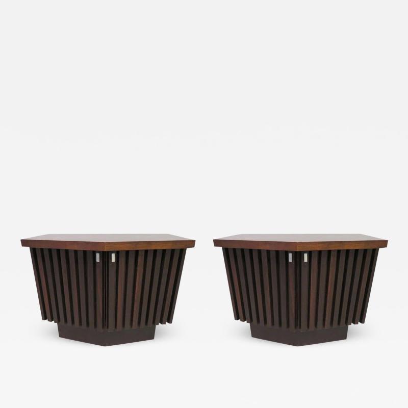 Altavista Lane Handsome Pair of American Modern Ribbed Walnut Nightstands Mid Century Modern
