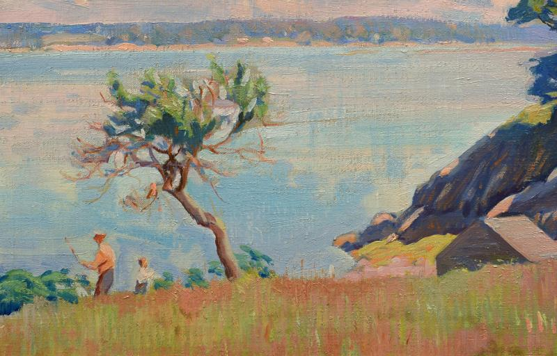 American Impressionist 20th century Summer by the Shore