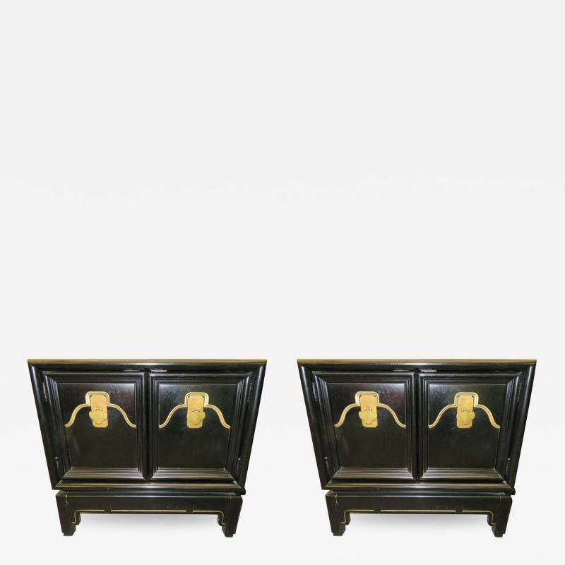 American of Martinsville Pair of Chinoiserie Style Asian Modern Lacquered Nightstands Mid Century