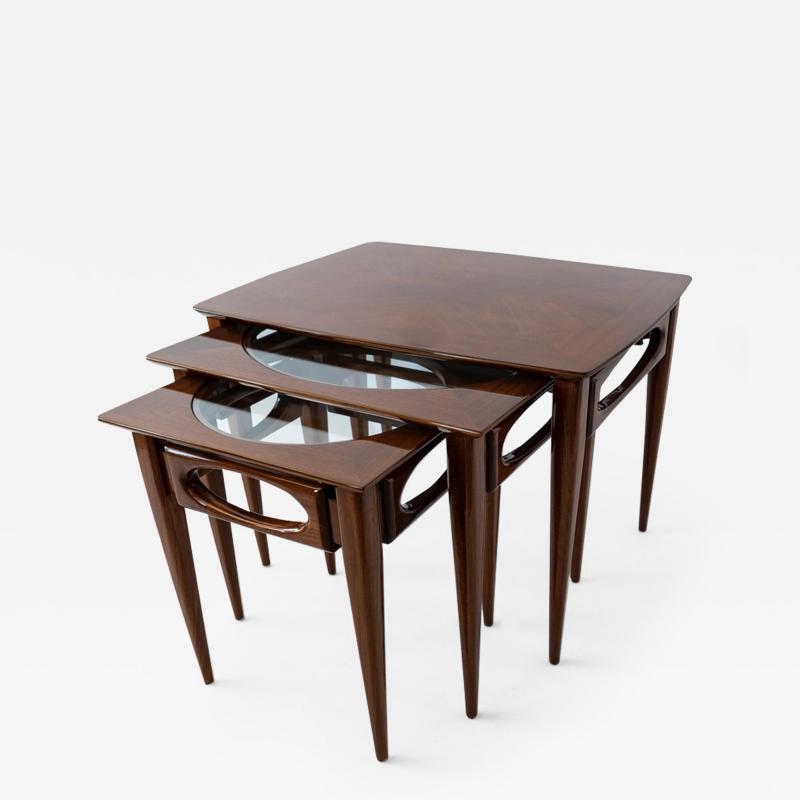 American of Martinsville Set of 3 American Modern Walnut Nesting Tables