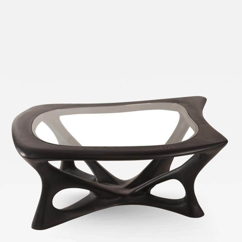 Amorph Amorph Ariella Coffee Table With Glass Top Solid Wood Ebony Finish
