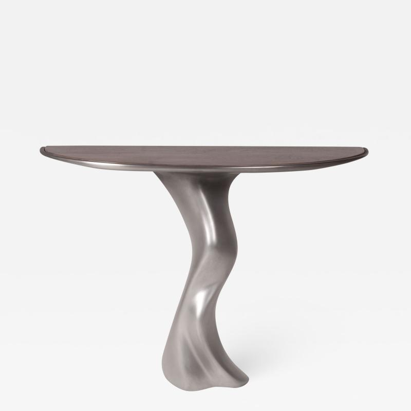 Amorph Amorph Haya Console Table Stainless Steel Finish with Top Walnut