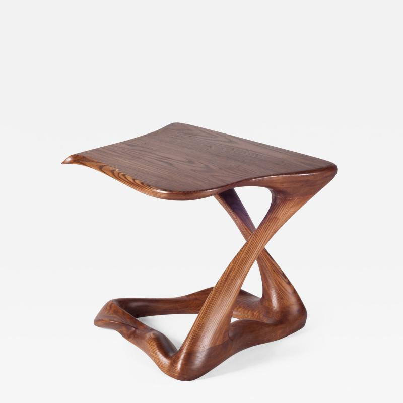 Amorph Contemporary Modern Side Table Ash Wood with Walnut Stained