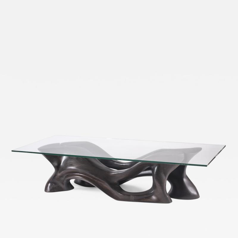 Amorph Contemporary Sculaptural Coffee Table Solid Ash Wood with Graphite Walnut Stain