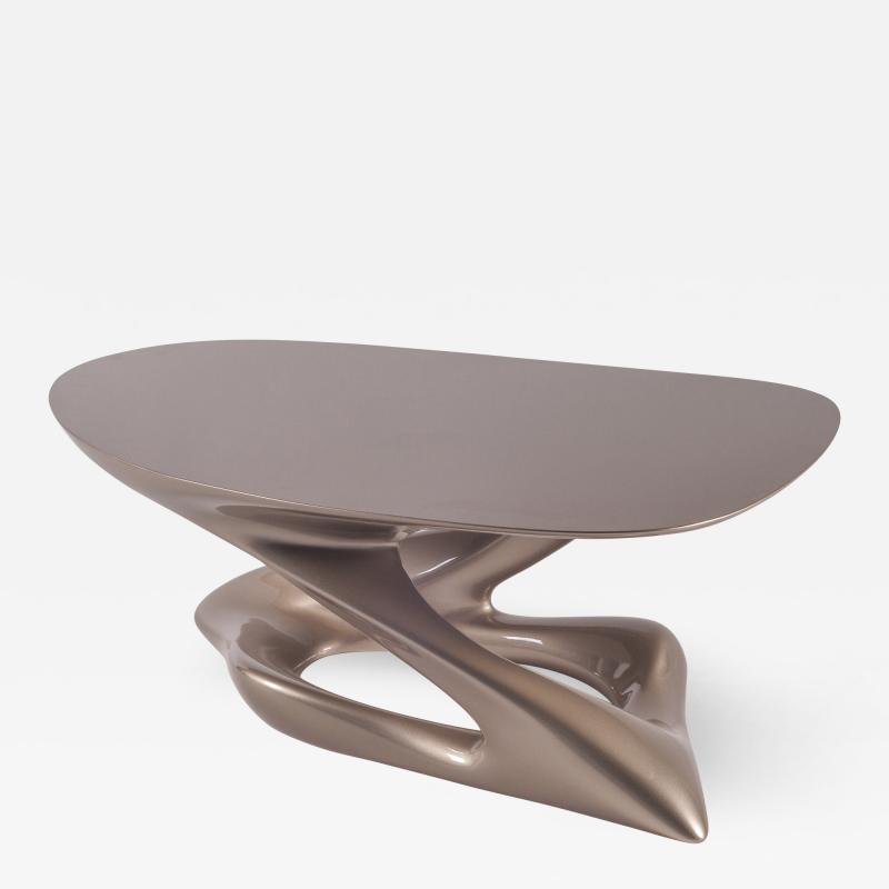 Amorph Contemporary Small Coffee Table Lacquer Finish Diagonal Leg Oval Shaped